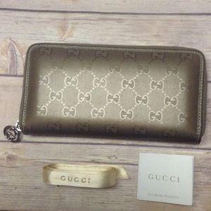 Gucci Metallic Mauve Imprime Wallet